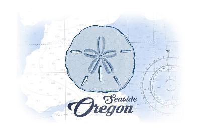 Seaside, Oregon - Sand Dollar - Blue - Coastal Icon-Lantern Press-Art Print