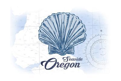 Seaside, Oregon - Scallop Shell - Blue - Coastal Icon-Lantern Press-Art Print