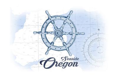 Seaside, Oregon - Ship Wheel - Blue - Coastal Icon-Lantern Press-Art Print