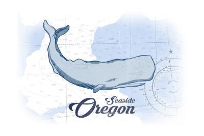 Seaside, Oregon - Whale - Blue - Coastal Icon-Lantern Press-Art Print