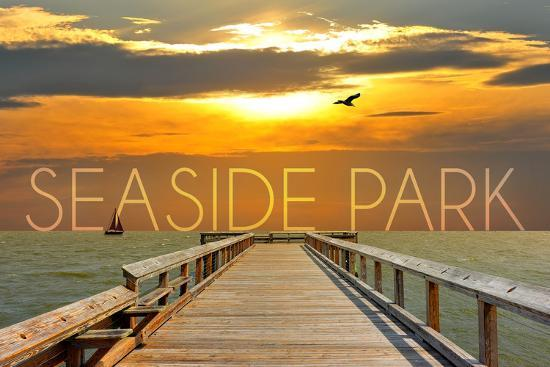 Seaside Park, New Jersey - Pier at Sunset-Lantern Press-Wall Mural