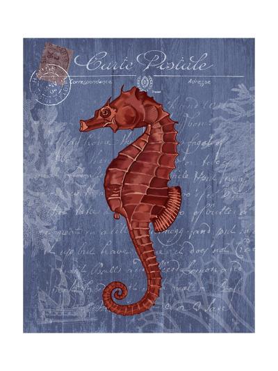 Seaside Postcard Red on Blue b-Fab Funky-Art Print