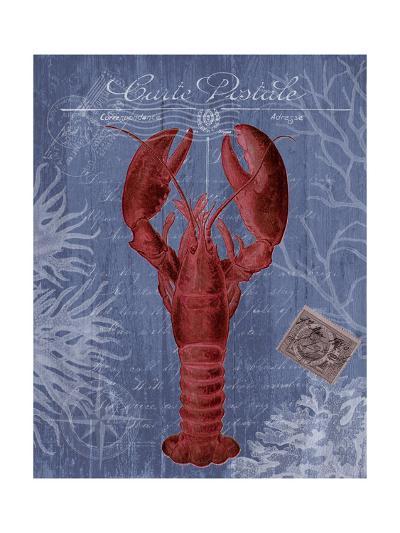 Seaside Postcard Red on Blue d-Fab Funky-Art Print