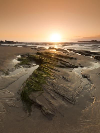 Seaside Rocks on Crackington Haven Beach at Sunset, Cornwall, England, United Kingdom, Europe-Ian Egner-Photographic Print
