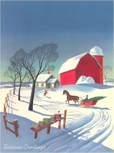 Season's Greetings, Sleigh and Farm--Art Print