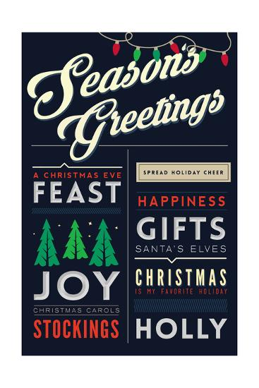 Seasons Greetings - Christmas Block Typography-Lantern Press-Art Print