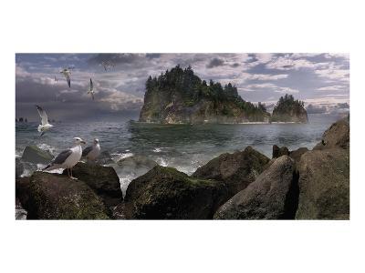 Seastack Gullage-Steve Hunziker-Art Print