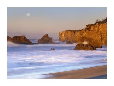Seastacks and full moon at El Matador Beach, California-Tim Fitzharris-Art Print