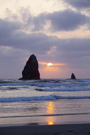 Seastacks at Sunset, Cannon Beach, Oregon, USA-Jamie & Judy Wild-Photographic Print