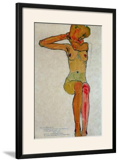 Seated Female Nude with Raised Right Arm, 1910-Egon Schiele-Framed Giclee Print