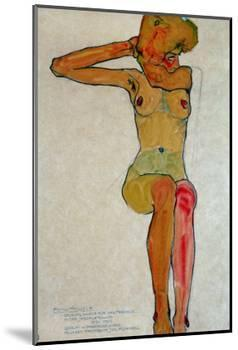 Seated Female Nude with Raised Right Arm, 1910-Egon Schiele-Mounted Giclee Print