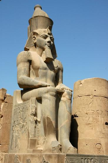 Seated Figure of Rameses II Wearing the Double Crown of Upper and Lower Egypt--Giclee Print