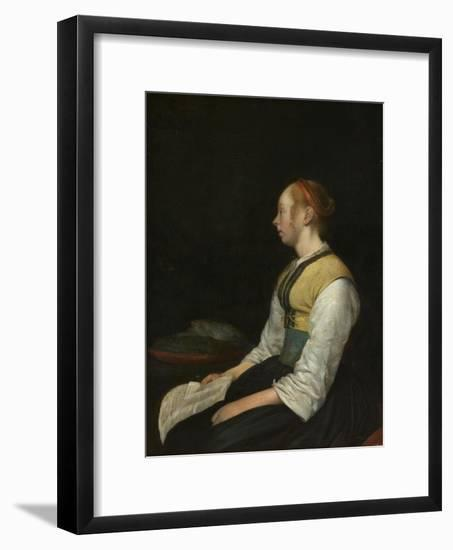 Seated Girl in Peasant Costume, c. 1650-60-Gerard ter Borch or Terborch-Framed Giclee Print