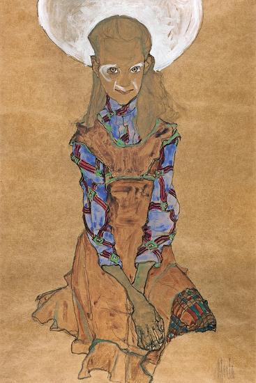 Seated Girl (Poldi Lodzinsk), C. 1910-Egon Schiele-Giclee Print