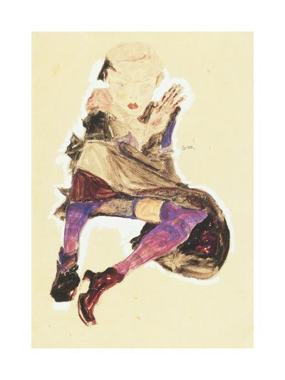 Seated Girl with Striped Stockings; Sitzendes Madchen Mit Gestreiften Strumpfen, 1910-Egon Schiele-Giclee Print