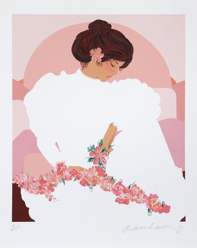 Seated Halau Dancer-Diana Hansen-Young-Serigraph