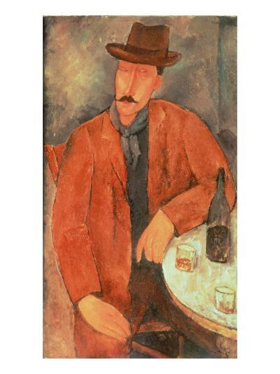 Seated Man Leaning on a Table-Amedeo Modigliani-Giclee Print