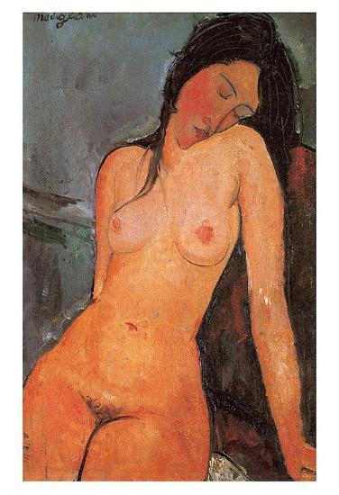 Seated Nude, c.1917-Amedeo Modigliani-Art Print