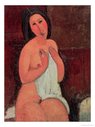 Seated Nude with a Shirt, 1917-Amedeo Modigliani-Giclee Print