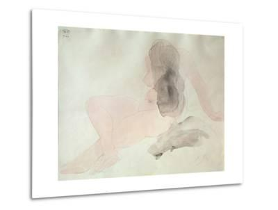 Seated Nude with Dishevelled Hair (W/C on Paper)-Auguste Rodin-Metal Print