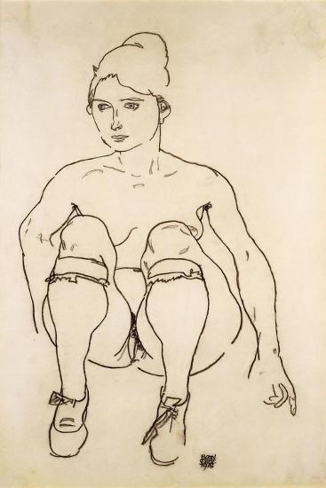 Seated Nude with Shoes and Stockings; Sitzende Akt Mit Schuhen Und Strumpfen, 1918-Egon Schiele-Giclee Print