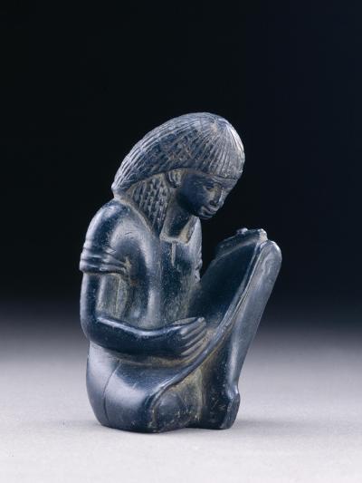 Seated Scribe, New Kingdom, 1391-1353 BC (Greywacke)-Egyptian 18th Dynasty-Giclee Print