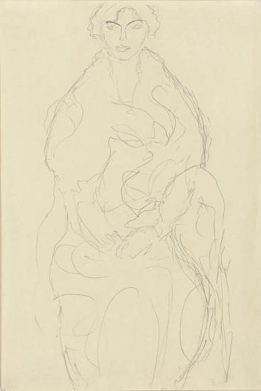 Seated Woman from the Front, C.1917-18-Gustav Klimt-Giclee Print