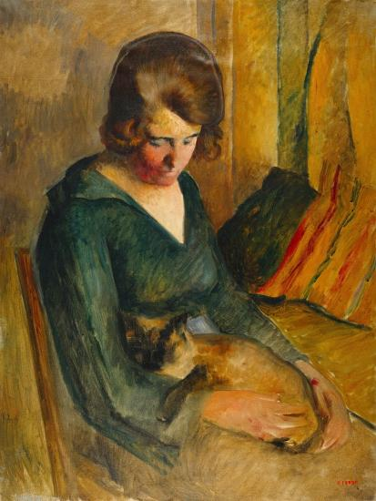 Seated Woman with a Cat on Her Knees (Femme Assise Avec Chat Sur Ses Genoux)-Roderick O'Connor-Giclee Print