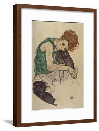 Seated Woman with Bent Knee, 1917-Egon Schiele-Framed Giclee Print