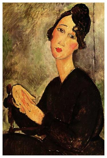 Seated woman with black dress-Amedeo Modigliani-Art Print