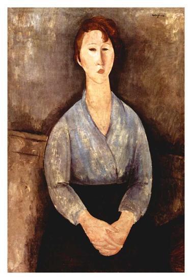 Seated woman with grey blouse-Amedeo Modigliani-Art Print