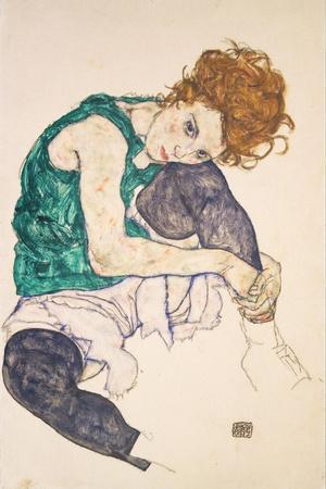 """Drawing Painting Print Egon Schiele /""""Sitting woman with legs drawn up/"""" 1917"""