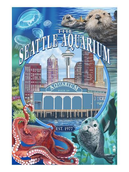 Seattle Aquarium - Seattle, WA-Lantern Press-Art Print