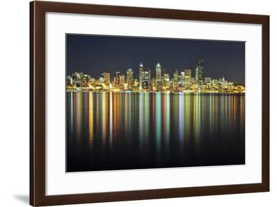 Seattle Skyline at Night-Hai Huu Thanh Nguyen-Framed Photographic Print