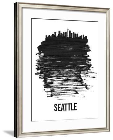Seattle Skyline Brush Stroke - Black-NaxArt-Framed Art Print
