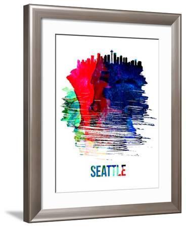 Seattle Skyline Brush Stroke - Watercolor-NaxArt-Framed Art Print