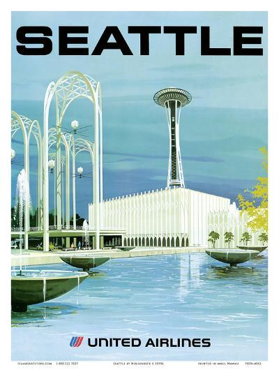Seattle - Space Needle and Seattle Center - United Airlines-Hollenbeck-Art Print