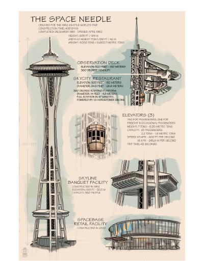 Seattle, WA, Space Needle Technical Drawing-Lantern Press-Art Print