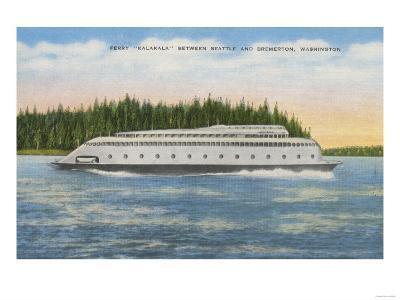Seattle, WA - View of Kalakala Ferry on Puget Sound-Lantern Press-Art Print