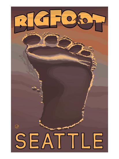 Seattle, Washington Bigfoot Footprint-Lantern Press-Art Print