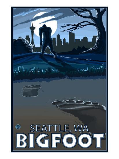 Seattle, Washington Bigfoot-Lantern Press-Art Print