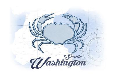 Seattle, Washington - Crab - Blue - Coastal Icon-Lantern Press-Art Print