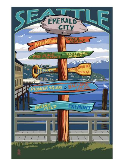 Seattle, Washington - Destination Signs-Lantern Press-Art Print