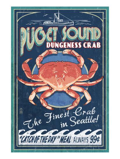 Seattle, Washington - Dungeness Crab-Lantern Press-Art Print