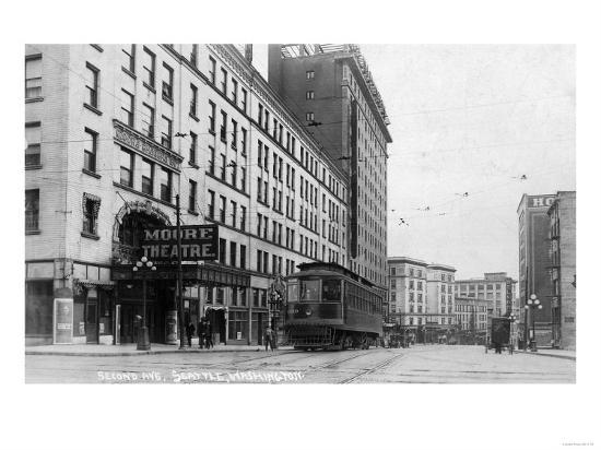 Seattle, Washington - Exterior View of Moore Theatre, Second Ave-Lantern Press-Art Print