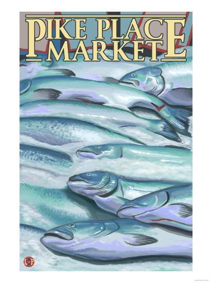 Seattle, Washington - Fish on Ice at Pike Place Market-Lantern Press-Art Print