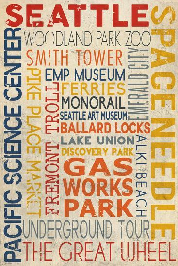 Seattle, Washington - Icon Typography-Lantern Press-Wall Mural