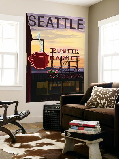 Seattle, Washington - Pike Place Market Sign and Water View-Lantern Press-Wall Mural