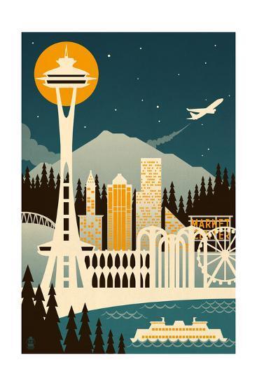 Seattle, Washington - Retro Skyline (no text)-Lantern Press-Art Print
