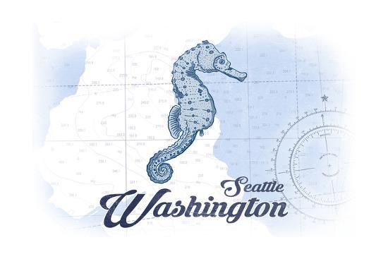 Seattle, Washington - Seahorse - Blue - Coastal Icon-Lantern Press-Art Print
